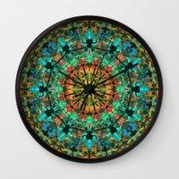 kaleidoscope Wall Clocks featuring Kaleidoscope by Klara Acel