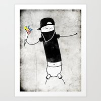 banksy Art Prints featuring Banksy by Super Lombrices