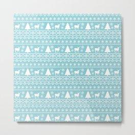 Light Blue Nordic Pattern  Metal Print