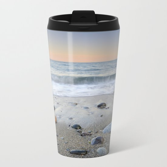 """Mediterranean waves at sunset"". Pink sunset Metal Travel Mug"