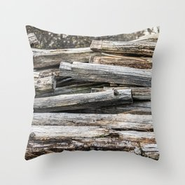Hand Cut Lumber From Dismantled Log Barn 2 Throw Pillow