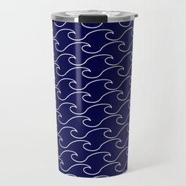 Sea Waves - white on darkblue pattern - Martitime Design Travel Mug