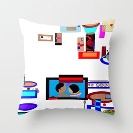 A Dinner and a Movie with Technology Throw Pillow