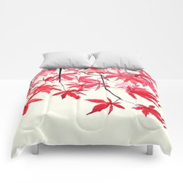 red maple leaves watercolor painting Comforters