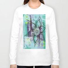 Teal Flower Long Sleeve T-shirt