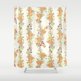 Romantic Vintage Design of Birds & Flowers - Natural colorful Shower Curtain