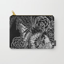 Rooster&Camellia Hat, White on Black Carry-All Pouch