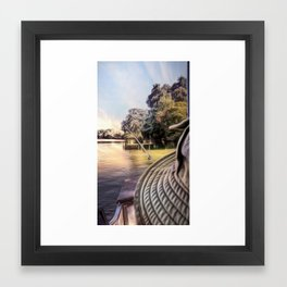 Fishing on the river Framed Art Print
