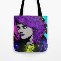 sky ferreira Tote Bags featuring SKY  by AZZURRA DESIGNS