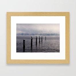 Foggy lake Framed Art Print