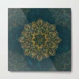 Golden Flower Mandala on Dark Turquoise Metal Print