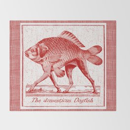 IF FISHES HAD LEGS (red) Throw Blanket