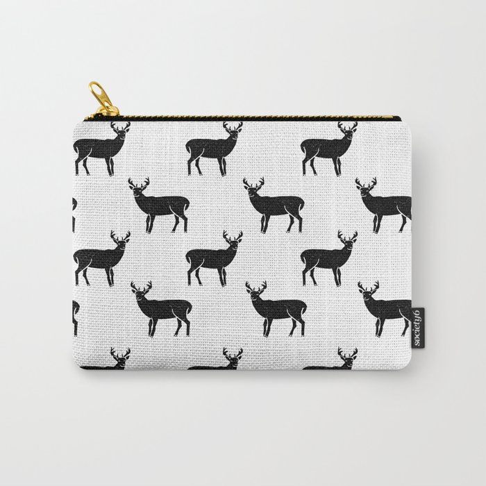 Buck deer antlers pattern minimal black and white linocut printmaking art  Carry-All Pouch