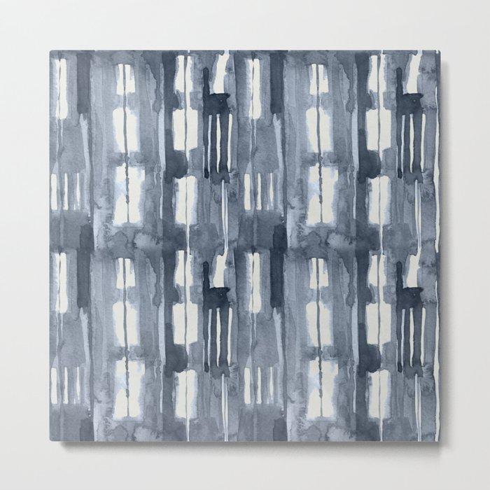 Simply Shibori Lines in Indigo Blue on Lunar Gray Metal Print