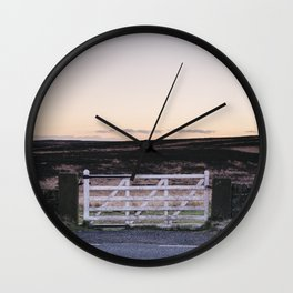 White gate leading to moorland at twilight. Derbyshire, UK. Wall Clock