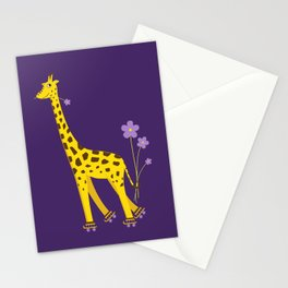 Funny Giraffe Roller Skating Stationery Cards