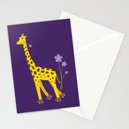Funny Giraffe Roller Skating Stationery Cards