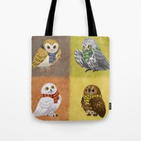 hogwarts Tote Bags featuring Hogwarts Owls by Katie O'Meara