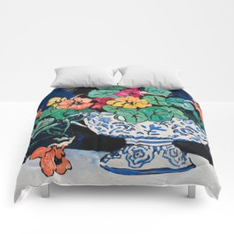 Nasturtium Bouquet in Chinoiserie Bowl on Dark Blue Floral Still Life Painting Comforters