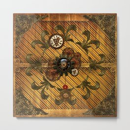 Noble steampunk design with clocks and gears Metal Print