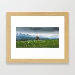 Sunset in the mountains Framed Art Print