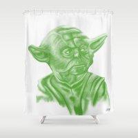 yoda Shower Curtains featuring Yoda by Jamie Briggs