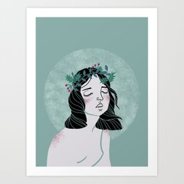 Dreamy girl wearing wreath illustration Art Print