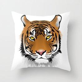 Close up beautiful Samatran tiger Throw Pillow