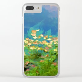 Autumn leaves on water 5 Clear iPhone Case