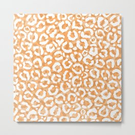 Golden Yellow White Leopard Animal Print Metal Print