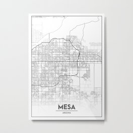 Minimal City Maps - Map Of Mesa, Arizona, United States Metal Print