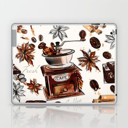 Coffee watercolor pattern with grains coffee mill and chocolate Laptop & iPad Skin