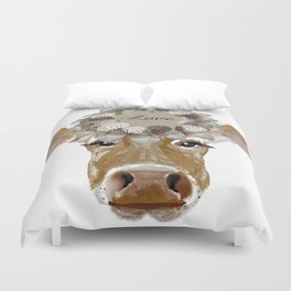 Cow with Love Hat Duvet Cover