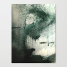 Last Kiss: a minimal, abstract watercolor piece in greens Canvas Print