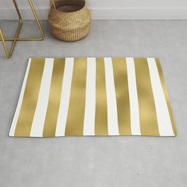 Gold unequal stripes on clear white - vertical pattern Rug