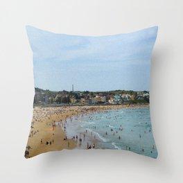 Sunny Bondi Beach is Crowded Throw Pillow