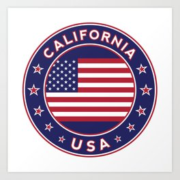 California, USA, car sticker, fridge sticker, travel sticker Art Print