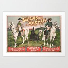 Buffalo Bill and Napoleon - Wild West Advertisement - 1896 Art Print