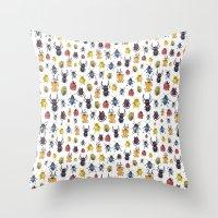 bugs Throw Pillows featuring Bugs by Marina Eiro