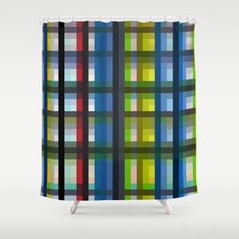 colorful striking retro grid pattern Nis Shower Curtain