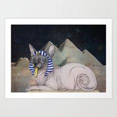 Sphynx Cat (space bg) Art Print