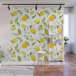 Watercolor Lemon & Leaves Wall Mural