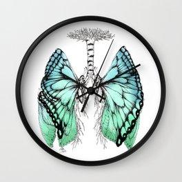 Butterfly Lungs Blue Green Wall Clock
