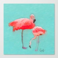 flamingos Canvas Prints featuring Flamingos  by Xchange Art Studio