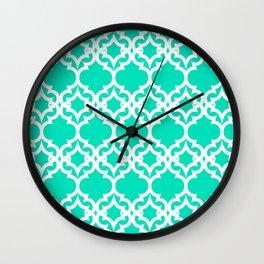 Lattice Stars in Teal Wall Clock