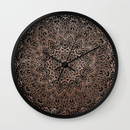 Mandala - rose gold and black marble 3 Wall Clock