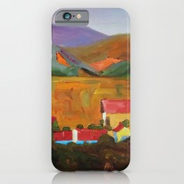 Tuscany Vineyards, Orchards, Village & Rolling Hills landscape painting by Egon Schiele iPhone Case