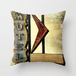 Vintage Arrow Motel Sign Throw Pillow