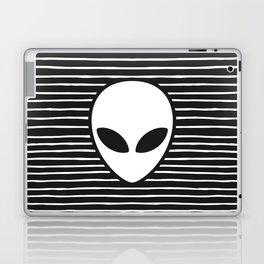 Alien on Black and White stripes Laptop & iPad Skin