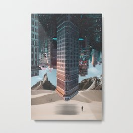 New York Upside Down Surreal Metal Print
